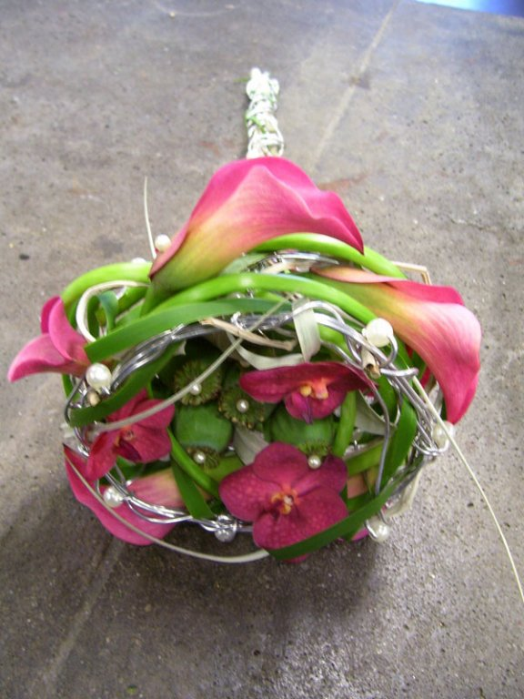 apart klassiek bruidsboeket, met calla's en vanda orchideetjes