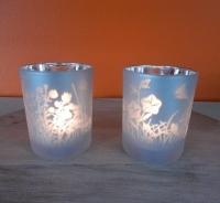 sfeerlichtjes zilver met mat wit, bloemen en vlinder motief