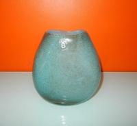 XO Design vaas turquoise/blauw met bronzen spikkels erin