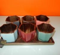 Brynxz bronskleurig plateau met 6 verschillende kleuren potjes