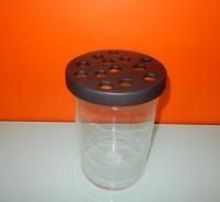 Gina Da vaas, glazen cilinder met zwart deksel
