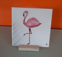 Housevitamin tegeltje op standaard, flamingo